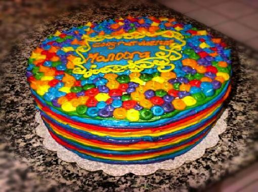 Round Rainbow Cake