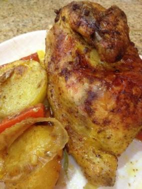 دجاج مع الخضار المشوي